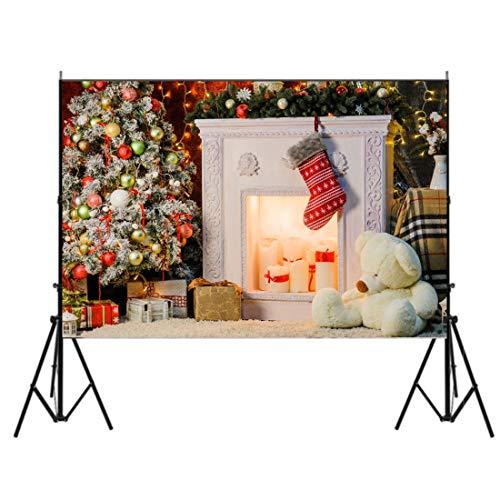 (7x5 FT Weihnachten Foto Hintergrund Holzwand Fotografie Hintergründe Weihnachten Baum Geschenke Glitter Star glänzende Lichter Hintergründe Fotostudio Kulissen für Xmas Party Dekoration)