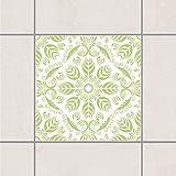 Fliesen Aufkleber–Rosamunde (Schauspiel) weiß Spring grün 15cm x 15cm, Setgröße: 10teilig