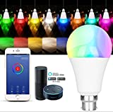 E-JIAEN Wi-Fi Smart LED Bulb Light B22 Bayonet 7W RGBW 16+Million Colours with Amazon Alexa Echo Dimmable Multicolored No Hub for IOS/Android/iPhone/iPad/Samsung/LG (B22 - Silver Type D)