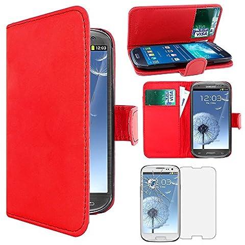 ebestStar - pour Samsung Galaxy S3 i9300 i9305 - Housse Coque Etui Portefeuille Support PU Cuir + Film protection écran en VERRE Trempé, Couleur Rouge [Dimensions PRECISES de votre appareil : 136.6 x 70.8 x 8.6 mm, écran 4.8