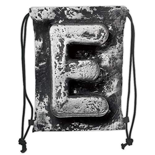 string Backpacks Bags,Letter E,Aluminum Colored Decayed Uppercase E Alphabet Character Nostalgic Medieval Initials Decorative,Grey Soft Satin,5 Liter Capacity,Adjustable String ()