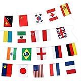 Bunting de banderas internacionales grandes de 20 * 30 CM, bandera de banderas mundiales de 32 M con 100 países diferentes