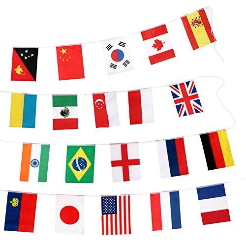 Bandiere di bandiere internazionali di 20 * 30 cm, bandiera delle bandiere del mondo di 32 m con 100 paesi diversi