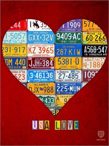 Holzbild 30 x 40 cm: USA Liebe aus Nummernschildern von Design Turnpike
