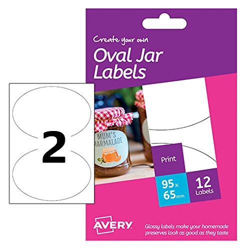 Avery HJJ02Blanko-Etiketten, bedruckbar, A6, glänzend, oval, 95x 65mm, Weiß, 12Stück - Avery-etiketten-oval
