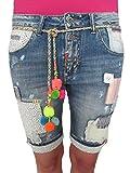 Wiya Italy Blogger Boyfriend Hippie Flicken Patches Denim Shorts Bermuda Damen S