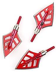VERY100 3 piezas x 6,2 cm Puntas de Flecha de Caza con 4 Cuchillas Agudas - 125 granos, rojo
