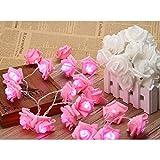 Gearmax® 20 LED Rosen Batteriebetrieben Innen Im Freien Beleuchtung für Garten Rasen Bar Verein Hochzeit Valentinstag Weihnachten (Pink)