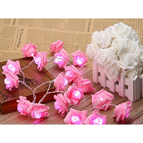Gearmax® Luci di Natale a Batteria -- 20LED Rosa fiore Stringa di LED Luce per la Decorazione, esterno/interno, per Natale, Matrimonio, Festa, Giardino, Patio Lawn Porch(Rosa) - giardino decorazione esterna e Patio