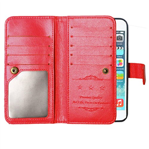 Solid Color Case 9 Karte und Cash Holder Wallet Fall Premium PU-Leder Tasche Deckung Flip Stand Case für iPhone 6 6s ( Color : Rose , Size : IPhone 6S ) Red