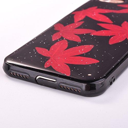 Elegante e Leggera Custodia per Apple iPhone 7Plus 5.5(NON iPhone 7 4.7), CLTPY Nero Case in Pressed Reale Fiore Natura Bella Clear View Ultra Slim Morbida Gomma Gel, Particolari Fantasia Lusso per  Fiore 1