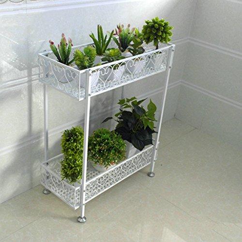 ZHDC® Porte-fleurs, Fer à double couche Balcon au sol Balcon à fleurs Ensemble à étagère intérieur et extérieur Bonsai Stable fort espace de sauvegarde ( Couleur : Blanc , taille : 120*20*12cm )
