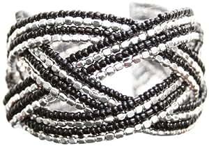 Marc Labat - 13H47 - Gypsy - Bracelet Manchette Femme - Métal argenté - Perle - Noir - 17 cm