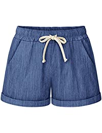 Sobrisah Women s Drawstring Elastic Waist Casual Comfy Cotton Linen Knee  Length Bermuda Shorts bed880e2bee