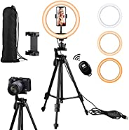 Eocean 10.2in Selfie Ring Light with 54in Tripod & Phone Holder for Tik Tok YouTube Live Stream Makeup, Le