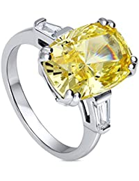 BERRICLE Rhodium Plated Sterling Silver Cushion Cut Canary Yellow Cubic Zirconia CZ 3-Stone Ring
