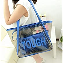 e805278bb Venta caliente de la mujer transparente bolso de mano bolsa de playa, azul