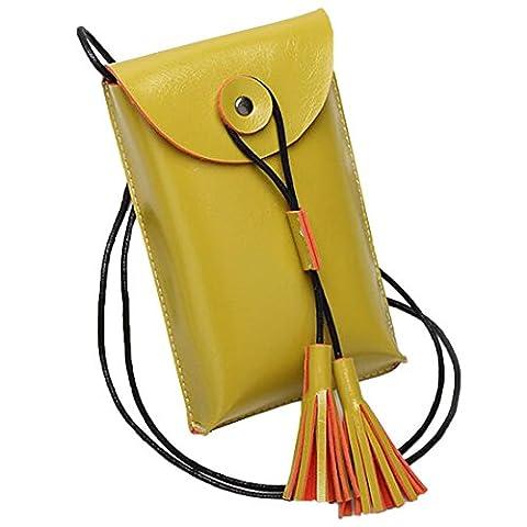 JXLOULAN Mädchen Quasten Schulter-Kurier-Mode-Handy-Beutel-Handy-Tasche Hange Geldbeutel (Gelb)