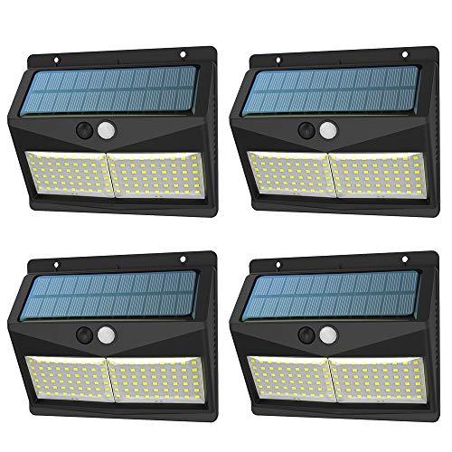 Lampe Solaire Extérieur,XJLED 108LED éclairage Solaire Extérieur Détecteur de Mouvement,2000mAh Lumière Solaire avec 3 Modes pour Jardin, Maison, Patio [4-Pack]