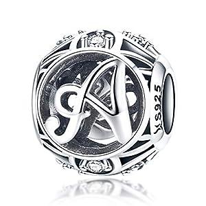 100% echtes 925 Sterling Silber Vintage A bis Z klare CZ Alphabet Buchstaben Beads für Charm-Armbänder, Armreifen und Halsketten