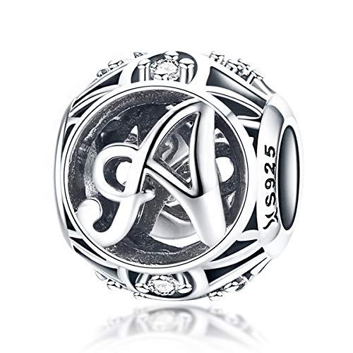 Ciondolo forma di lettera dellalfabeto 100% argento Sterling 925 stile vintage dalla A alla Z con zirconia cubica trasparente compatibile con