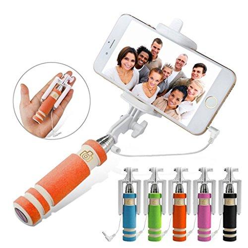 Fone-Case (Orange) Mini Selfie-Stick Ausziehbare Tasche Einbeinstativ für Mobiltelefone mit eingebautem Remote-Shutter für für Samsung Galaxy S8 Plus (Fall Leder Teleskop-computer)