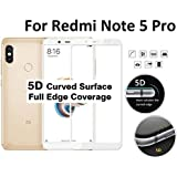 Tingtong 5D Curved Coloured 9H Hardness Tempered Glass for Xiaomi Redmi Note 5 Pro (White)