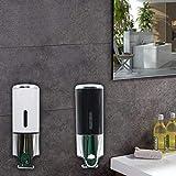 OUBAYLEW Edelstahl Wandhalterung Seifenspender Shampoo Soap Duschgel Spender Hotel 500ml (Weiß)