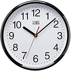 Plumeet Horloge Murale pour Enfants, 25cm Horloge Murale Décorative de qualité, Mécanisme Silencieux à Quartz, pour Maison/Cuisine/Bureau/École, Lecture de l'Heure Facile (Noir)