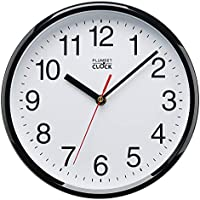 """Plumeet Silent Sweep Wall Clock, 10"""" Silent Non Ticking Quality Quartz Black Wall Clock Decorative Home/Kitchen/Office/School Clock, Easy to Read, Battery Operated (Black)"""