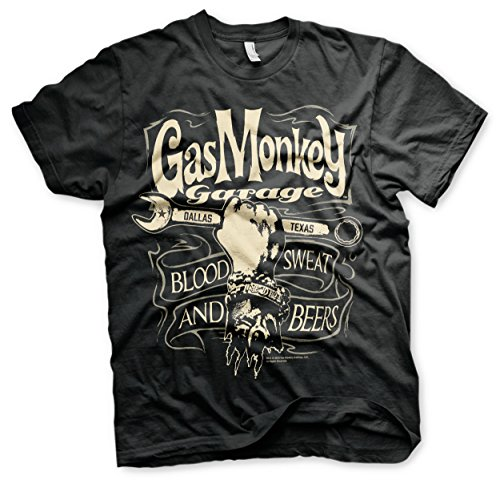 Officially Licensed Merchandise Gas Monkey Garage Wrench Label T-Shirt (Black), 3X-Large
