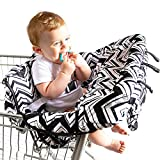 TXDY Baby Kids Shopping Cart Cojín Kids Trolley Pad Baby Shopping Push Cart Protección Cubierta Silla para bebé Asiento Mat con cinturón de Seguridad - Black Wave