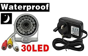 BW® 30 LED Weatheproof Night Vision Home Office Wired Colour CCTV IR Security Camera with UK power adaptor