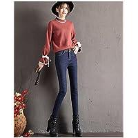 TT&NIUZAIKU Mujer Casual Tiro Medio Microelástico Vaqueros Pantalones, Un Color Algodón Invierno Primavera/Otoño, Black, 26