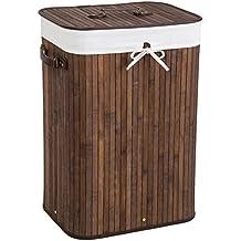 TecTake Cesta de bambú para la ropa 72L - bolsa de lavandería extraíble - marrón 42 x 31,5 x 60cm
