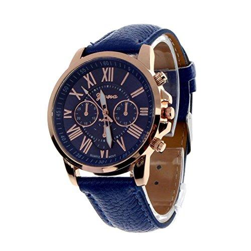 PLOT Damen Quarzuhr Mit Lederarmband | Genf Römische Zahlen | Armbanduhren Für Frauen | Geschenke Für Frauen | Einstellbar Uhrenband | Quarzwerk | 20mm Bandbreite | 40mm Gehäusedurchmesser (J) (Datumsanzeige Damen-uhren Mit)