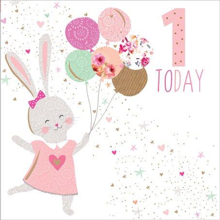 Jaz & BAZ Karten von Sara Miller-1heute Mädchen, Bunny (ersten Geburtstag Karte) # jb148 (Geburtstags-karte 1.)