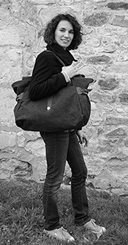 OH MY BAG Sac de voyage en CUIR et TOILE porté main, épaule et bandoulière Modèle FIDJI Nouvelle Collection NOIR