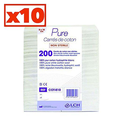 Carrés De Coton 100% Coton Hydrophile Carton De 10 Sachets De 200 Carrés 8 X 10 Cm - Cot-810-10 - By Antigua Health Care