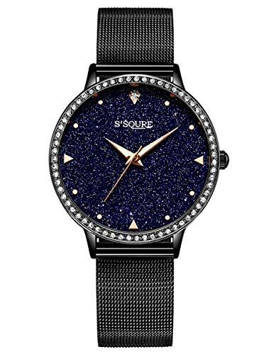 Alienwork Damen-Armbanduhr Quarz schwarz mit Metall Mesh Armband Edelstahl echtes Marmor Zifferblatt Strass-Steinen