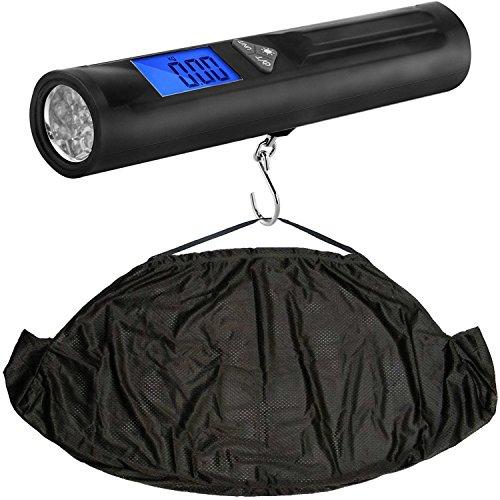 Balance de pesage électronique 3 en 1 pour pêche numérique et fronde,   Échelle, barre de pesée, torche et bride dans l'empaquetage de détail - pèsent en livres. Onces et kilogrammes