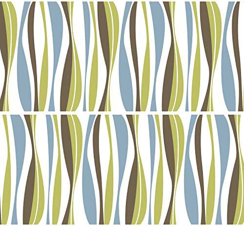"Selbstklebende Bordüre ""Streifen Retro"", 4-teilig 560x15cm, Tapetenbordüre, Wandbordüre, Borte, Wanddeko,Natur, Muster"