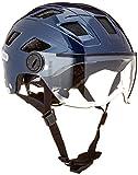 Abus Erwachsene Hyban + Fahrradhelm, Midnight Blue-Clear Visor, L (56-63 cm)