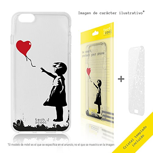 FunnyTech® Set Funda Gel TPU para Iphone 8 [Gel Silicona Flexible Alta Calidad] [Ultra Slim 1,5mm] [Diseño Exclusivo, Impresión Alta Definición] + [Cristal Templado 0,3mm, HD, 9H] [Bansky Graffiti niña globo transparente]