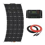 Giosolar Panneau solaire 100W souple kit Panneau solaire chargeur de batterie monocristallin avec écran LCD 20A contrôleur pour bateaux caravanes systèmes Hors-réseau