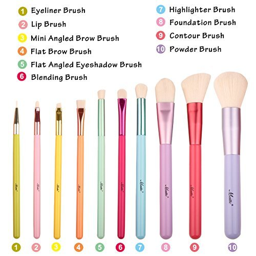 Matto Make-up Brushes Set 10 Pieces Colorful Makeup Brush Kit with Make Up Brushes Holder Case