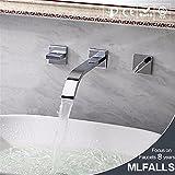 ETERNAL QUALITY Badezimmer Waschbecken Wasserhahn Messing Hahn Waschraum Mischer Mischbatterie Tippen Sie auf Spülen Waschbecken in die Wand kaltes und heißes Doppel Gri