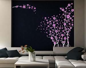 """Giapponese, motivo: ciliegio in fiore, adesivo da parete, misura grande, White/Fuchsia, Medium: 140cm height / 55"""""""