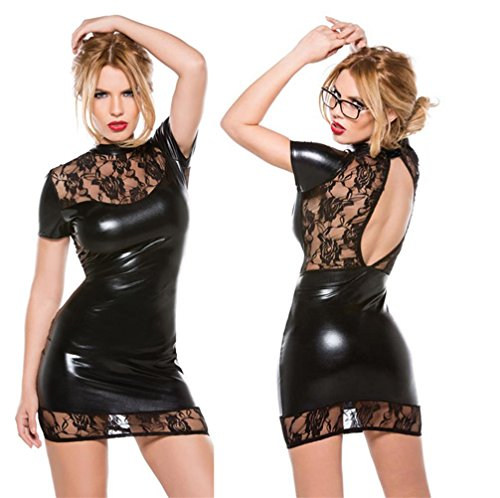 SEXY-MAN Lingerie Pajamas Women Faux Leather Wet Look Backless Mini Dress Club Wear Dress Erotic (Cat's Pajamas Kostüm)