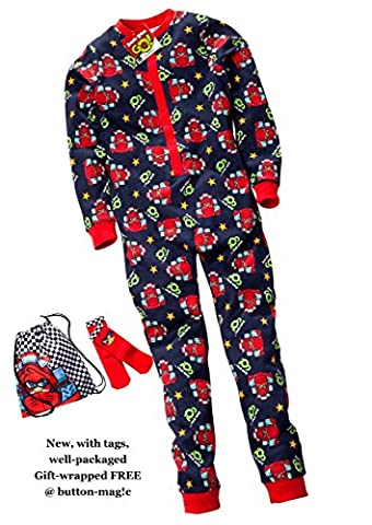 Angry Birds Onesie Nightwear Set - Bundle includes Boys All-in-One Pyjamas , Non-slip Slipper Socks and Drawstring Bag * Licensed Angry Birds merchandise *New with Tags and Labels (7-8